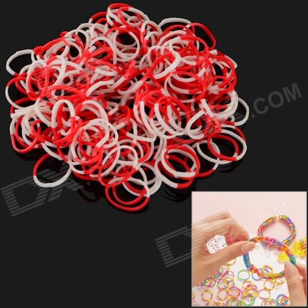 DIY Educational Silicone Rubber Band Bracelet for Children - White + Red (200 PCS)