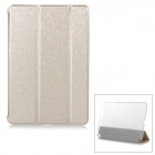 P001 Silk Grain 3-Section Foldable Auto-Sleep Protective PU Case w/ Stand for IPAD AIR - Golden