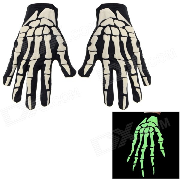 Halloween Cosplay Skeleton Hands Style Gloves - Black + Beige (Pair)
