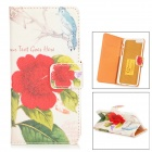 "Flower + Bird Pattern Protective PU Leather Case for IPHONE 6 4.7"" - WHite + Red + Green"