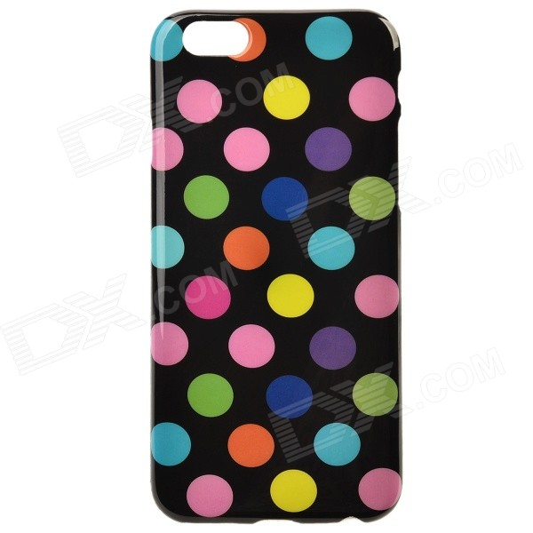 Polka Dot Pattern Protective Silicone Back Case for IPHONE 6 4.7 - Black + Multicolored protective polka dots pattern silicone back case for iphone 5 pink