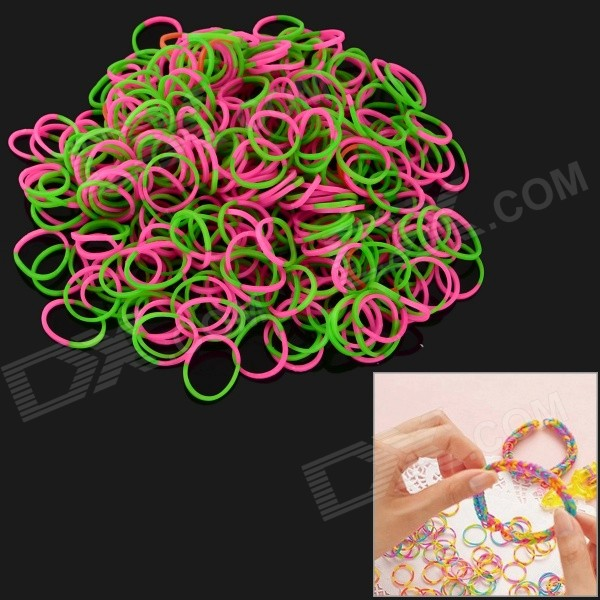 DIY Educational Silicone Rubber Band Bracelet for Children - Green + Deep Pink (300 PCS) diy silicone rubber band bracelet purple transparent