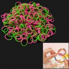 DIY Educational Silicone Rubber Band Bracelet for Children - Green + Deep Pink (300 PCS)