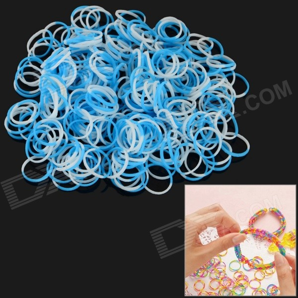 DIY Educational Silicone Rubber Band Bracelet for Children - Blue + White (300 PCS)