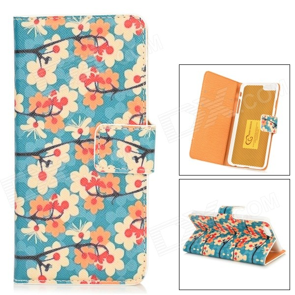 Flower + Butterfly Pattern Protective PU Leather Case for IPHONE 6 4.7 - Blue + Orange + Beige butterfly bling diamond case