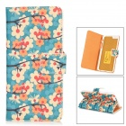 "Flower + Butterfly Pattern Protective PU Leather Case for IPHONE 6 4.7"" - Blue + Orange + Beige"