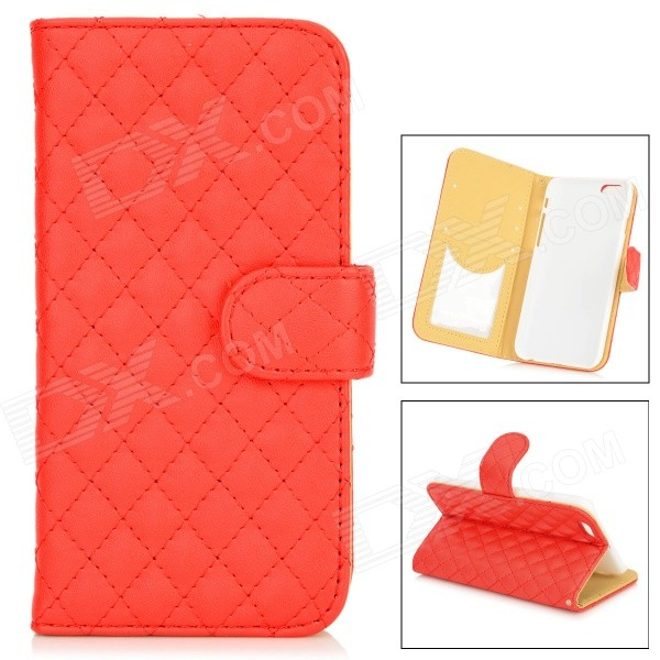 Grid Pattern Protective PU Case w/ Stand for IPHONE 6 4.7 - Red + White grid pattern protective pu case w stand for iphone 6 4 7 red white