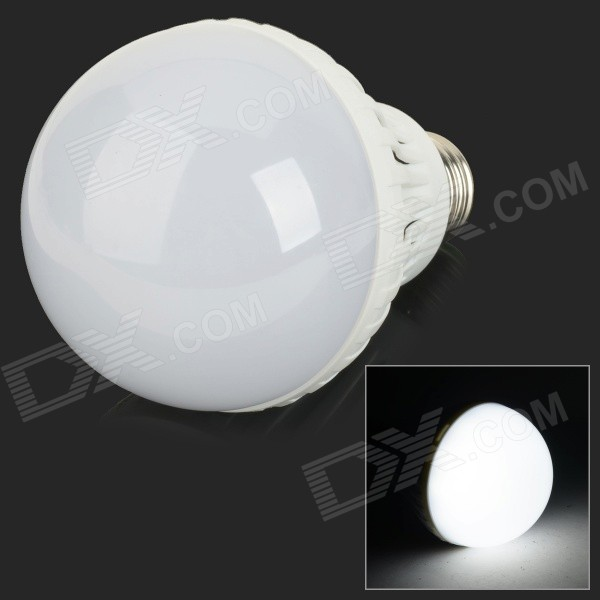 E27 9W 850lm 6500K 18-SMD 5730 LED White Light Bulb - White + Silvery Grey (AC 220V)