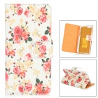 "Peony Flowers Pattern Protective PU + Plastic Case w/ Stand for IPHONE 6 4.7"" - Red + Beige + Yellow"