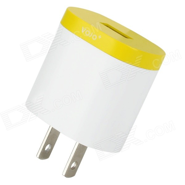 VOJO CD-3 1.2A US Plug Power Adapter for Samsung / IPHONE / Xiaomi - Yellow + White (100~245V)