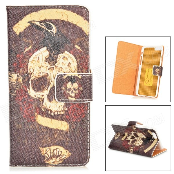 все цены на Skull Pattern Protective PU Leather Case w/ Stand for IPHONE 6 4.7