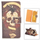 "Skull Pattern Protective PU Leather Case w/ Stand for IPHONE 6 4.7"" - Coffee + Bronze"