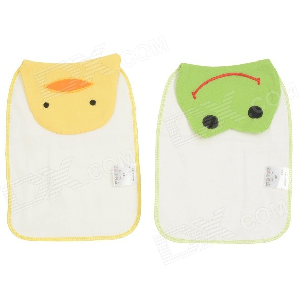 Cute Smily Patterned Cotton Sweat Absorbing Towels for Babies - White + Green + Yellow (2 PCS)
