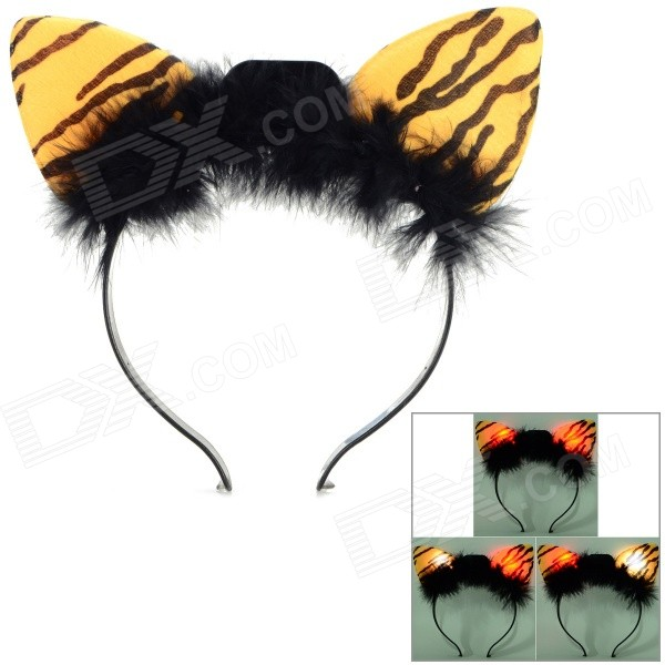 Halloween Fancy Ball Flashing Leopard Style Head Hoop - Black + Yellow (3 x AG13)