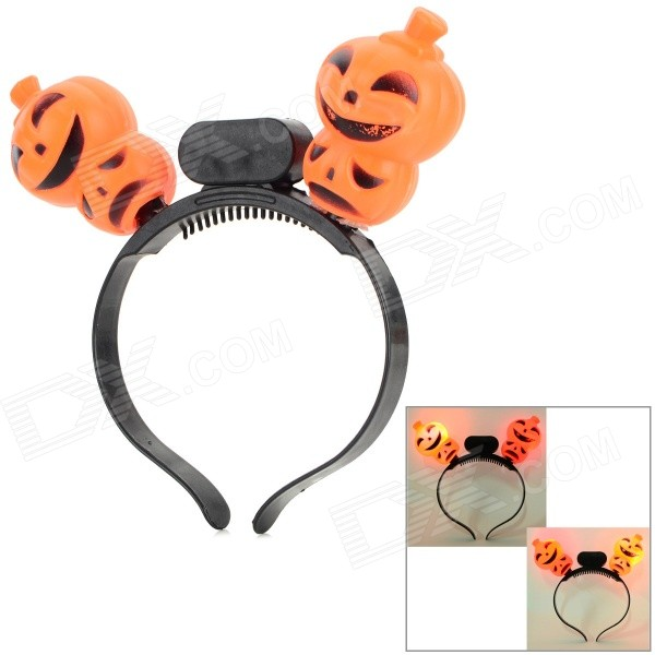 Halloween Party Flashing Pumpkin Style Head Hoop - Orange + Black (3 x AG13)