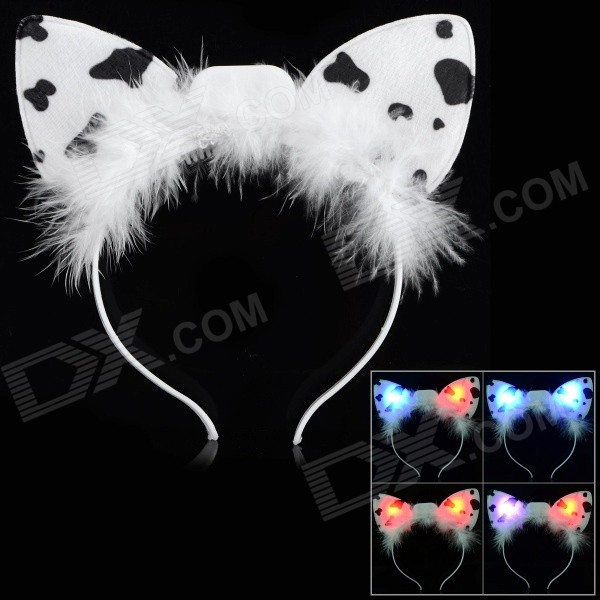 Halloween Flashing Cow Ear Style Head Hoop - White + Black (3 x AG13)