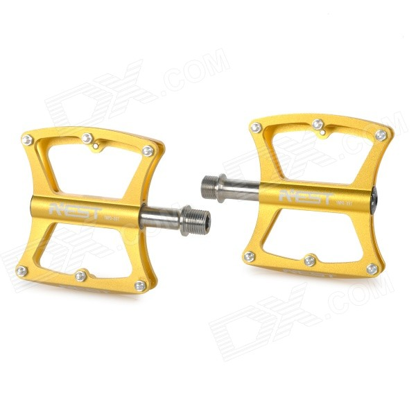 AEST YMPD-09T Lightweight Aluminum Magnesium Alloy Bicycle Bike Pedals - Gold (Pair) aest ympd 09t aluminum magnesium alloy bicycle pedal black pair