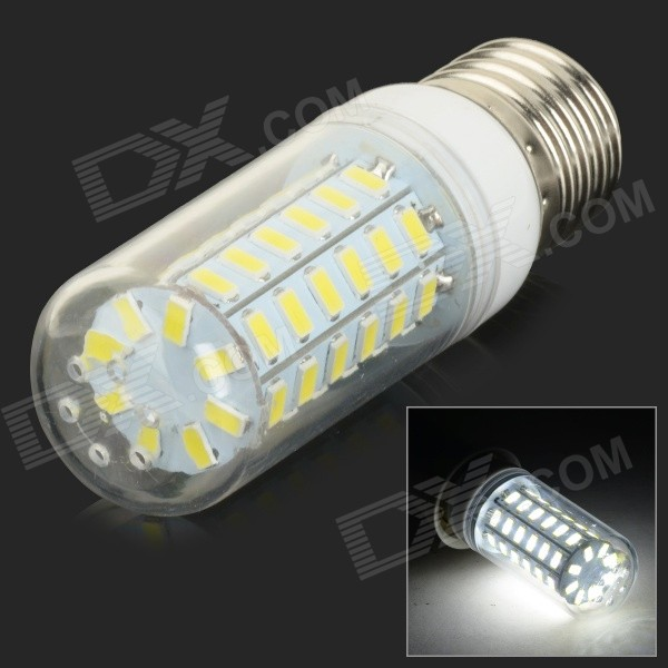 E27 10W 950lm 6500K 56-SMD 5730 LED White Corn Lamp - White + Silvery Grey (AC 220~240V)