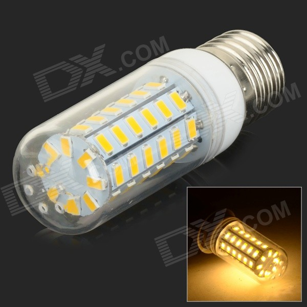 E27 10W 950lm 3500K 56-SMD 5730 LED Warm White Corn Lamp - White + Silvery Grey (AC 220~240V)