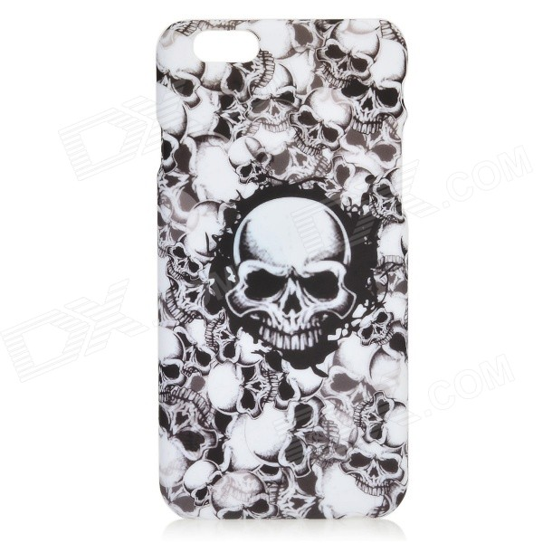 PC0906 Skulls Pattern Protective PC Back Case for IPHONE 6 4.7 - White + Black cat pattern protective pc back case for iphone 6 4 7 white pink multi color