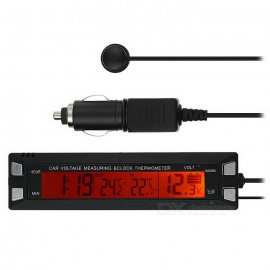 "3.8"" LCD Digital Clock w/Thermometer + Voltage Measuring Bar - Black"