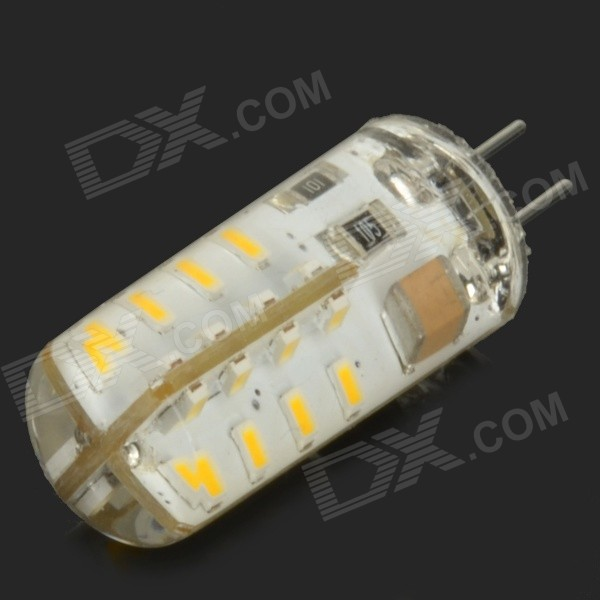 G4 3W 250lm 3500K 32-SMD 3014 LED Warm White Corn Lamp - White + Translucent Green (AC 220V)