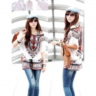 Fashion Loose Retro Milk Fiber Tops Shirt w/ Waist Belt for Women - White + Red + Multi-Color