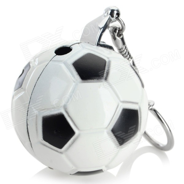 Football Style Zinc Alloy Butane Lighter w/ Keychain - White + Black 4hao football player style zinc alloy keychain silver