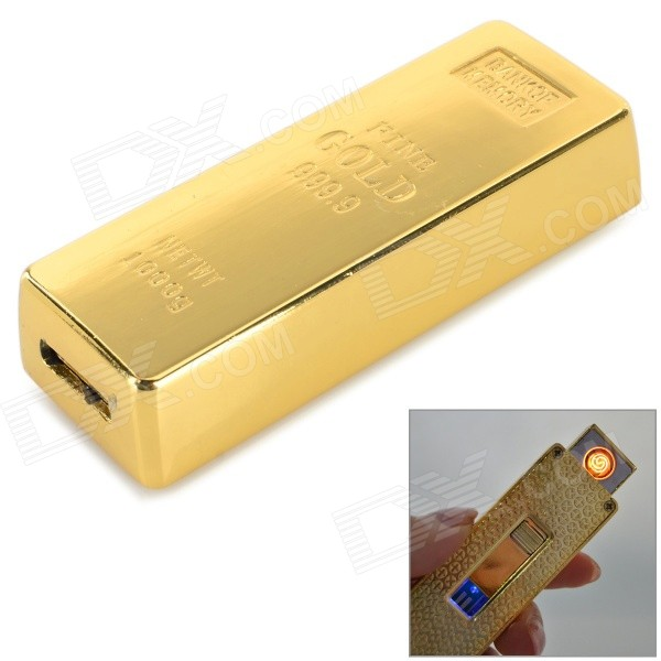 USB Rechargeable Zinc Alloy Electronic Cigarette Lighter - Golden