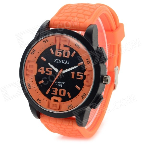 XINKAI Fashionable Silicone Band Analog Quartz Wrist Watch - Orange + Black (1 x 377) elegant steel band quartz analog wrist watch for women black silver 1 x 377