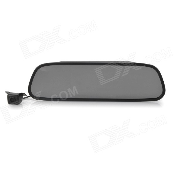 "Universal CMOS 4-LED IR Night Vision Car Rearview Camera + 5"" Rearview Mirror Set - Black"