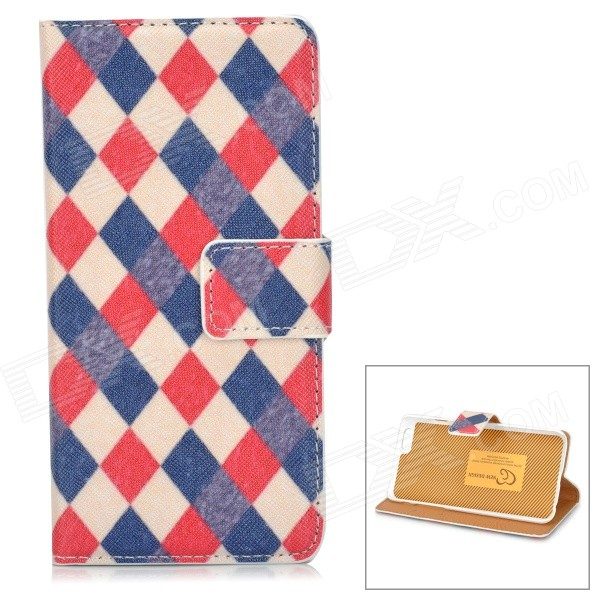 Diamond Grid Pattern PU Leather Flip-Open Case w/ Card Slot for IPHONE 6 4.7 - Red + Blue cute owl pattern pu leather flip open case w stand card slot for iphone 4 4s multi color