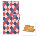 "Diamond Grid Pattern PU Leather Flip-Open Case w/ Card Slot for IPHONE 6 4.7"" - Red + Blue"