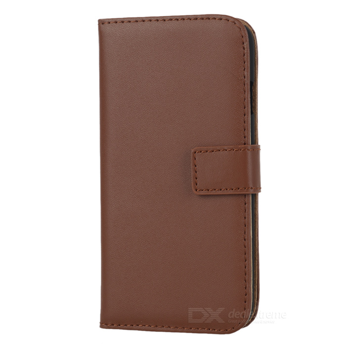 WB-0916 Protective Leather Flip-Open Case w/ Card Slot / Stand for IPHONE 6 4.7 - Brown high quality leather wallet style flip open case w card slots for iphone 6 plus brown