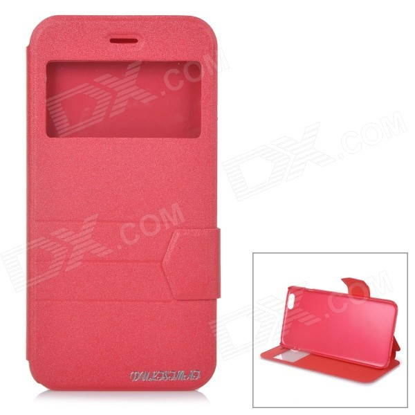 DULISIMAI Matte Flip-Open PU + TPU Case w/ Stand + View Window for IPHONE 6 PLUS 5.5 - Red цепочка german silver 46sm