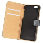 "WB-0916 de protection en cuir flip-ouvert Case w / Card Slot / Stand pour iPhone 6 4.7 ""- noir"