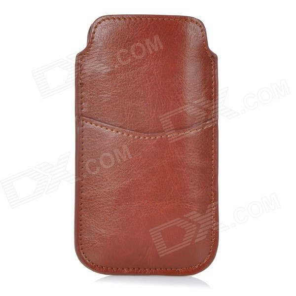Protective PU Pouch Case w/ Pull Strap + Card Slot for IPHONE 4 / 4S / 5 / 5C / 5S - Brown