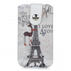Eiffel Tower Pattern PU Protective Pouch Case w/ Pull Strap + Magnetic Button for IPHONE 6 PLUS 5.5""