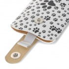 Paw-Print Patterned PU Protective Pouch Case w/ Pull Strap + Magnetic Button for IPHONE 6 PLUS 5.5""