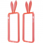 Lovely Rabbit Ears Style Protective TPU Bumper Frame Case w/ Strap for IPHONE 5 / 5S - Red