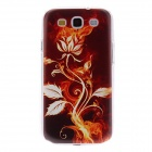 Kinston Bro Flower Pattern Protective Plastic Back Case for Samsung Galaxy S3 I9300 - Brown + Red