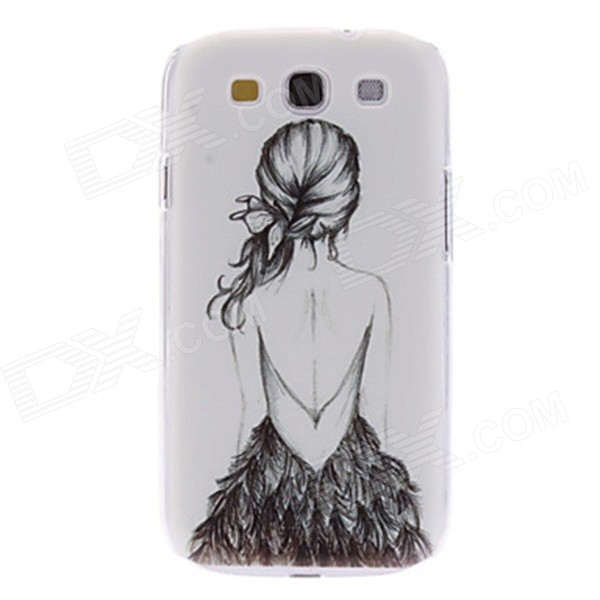 Kinston Girl in Backless Dress Pattern Plastic Back Case for Samsung Galaxy S3 I9300 - Grey + Black kinston colorful flowers and butterflies pattern plastic protective case for samsung galaxy s3 i9300