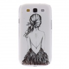 Kinston Girl in Backless Dress Pattern Plastic Back Case for Samsung Galaxy S3 I9300 - Grey + Black