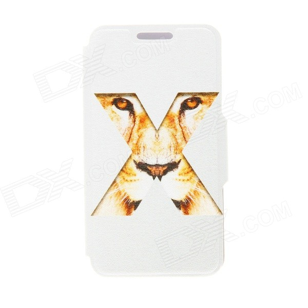 Kinston X Tiger's Eye Pattern PU Leather + Plastic Flip Open Case w/ Stand for HTC One Mini M4 cute marshmallow style silicone back case for iphone 5 5s yellow white