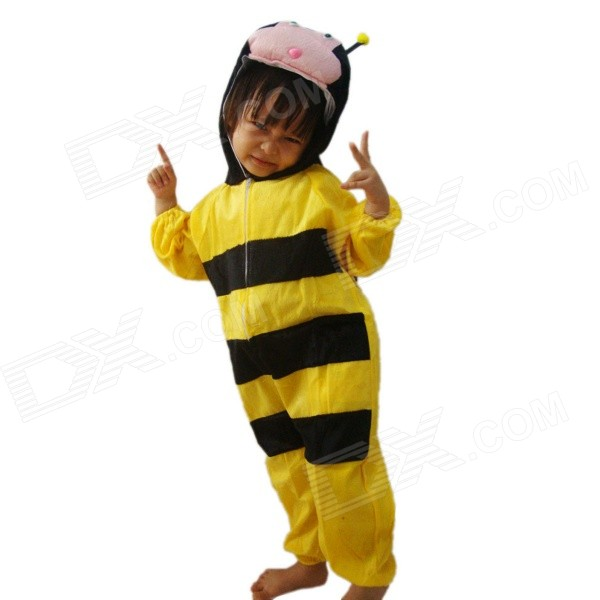 Animal Bee Style Plush Coverall Suit for Halloween - Yellow + Pink