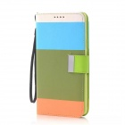 Fashion Colorful PU + TPU Flip Open Case w/ Stand / Strap / Card Slot for Samsung Galaxy Note 4