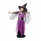 Halloween Kostüme Kinder Gaze Witch Suit - Schwarz + Purple (Größe XL)