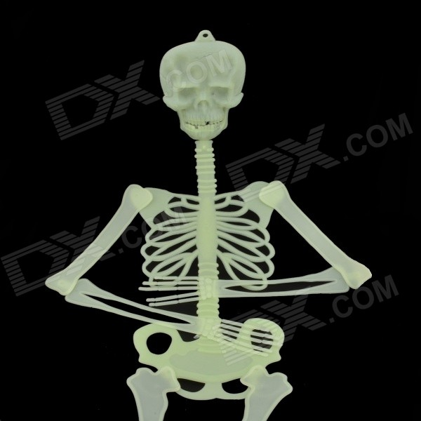 Skull Skeleton Style Glow-in-the-Dark Gadget for Halloween - Green (Size L) glow in the dark dog footprint style decoration wall paper sticker green