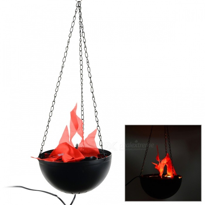 8W 420lm 2-LED Red Artificial Flame Firepan Electronic Halloween Decoration Pendant Lamp - Black