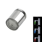 01-A9 RGB Color LED Water Temperature Visualizer Shower Faucet Light - Silver